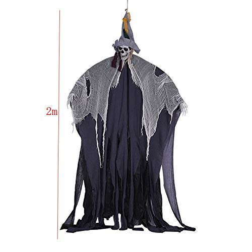 Electic Toys 2m Terror Large Hanging Ghost Halloween Decoration for Home Office Bar Ktv Club Haunted House Escape Creepy Dolls ()
