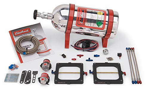 Edelbrock 70093 Performer RPM Nitrous Systems For Dual-Quad 4500 Flange 100-250 HP Single Stage Polished Aluminum Coated Bottle Performer RPM Nitrous Systems