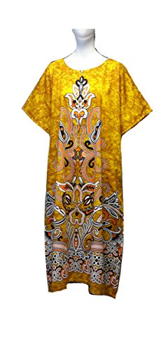 """Femme 100% Cotton Woven Print Short Sleeve Long Kaftan. 15"""" Zip on front with 2 side pockets. One Size Fit Uk 12-26"""
