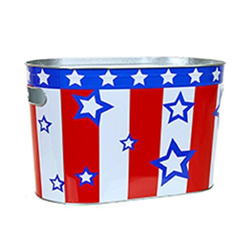 Patriotic Red White & Blue Oblong Metal Painted Ice Gift Bucket Tub Tote (Bucket Of Beer Gift)