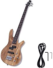 $92 » Bass Guitar, Full Size 4 String Electric Guitar Beginner Stylish kit with Bass, Power Wire, Wrench Tool-Burlywood