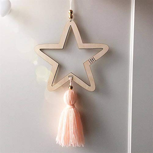 Nordic Style Wooden Star Wind Chimes Kid Home Accessories Art Wall Hanging for Girls Living Room Toddler Dream Catcher (Color : Pink) by DUOER-wind chimes (Image #1)