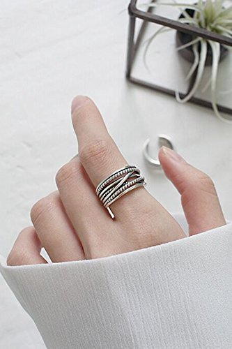 Generic The new simple ring Korea influx of people opening retro women girls lady Jomon twist multilayer multilayer Thai silver ring ring male by Generic