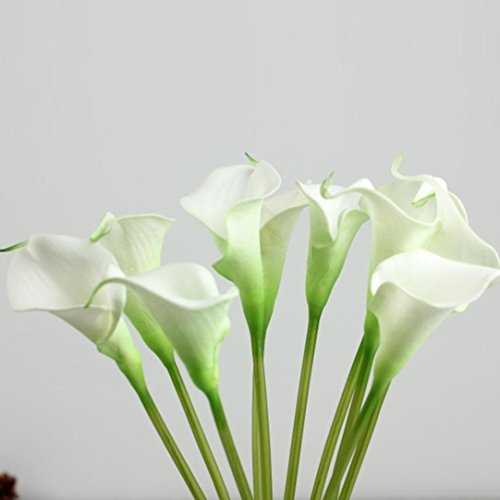 Mikey Store 10pcs Mini Artificial Calla Lily Wedding Flowers Bouquet Calla lily Foam Decor (White)