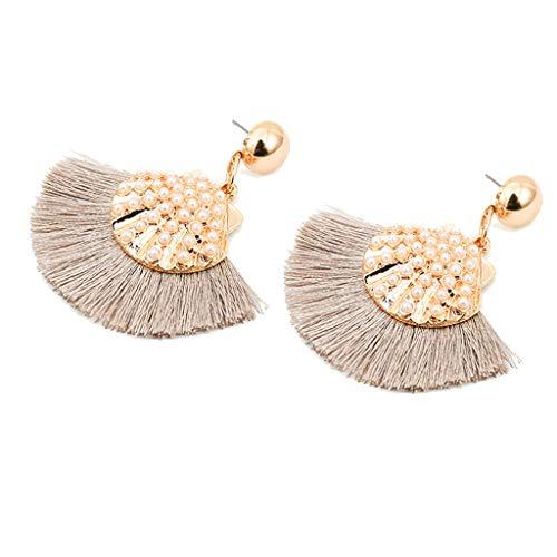 - Psunrise Pendientes New Bohemian Handmade Metal Shell Pearl Tassel Earrings Ladies Jewelry(6×5.5cm, Khaki)