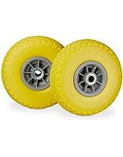 Relaxdays 2 x steekwagenwiel, lekvrije rubberen banden, 3,00-4 inch, 20 mm as, tot 80 kg, 260 x 85 mm, verschillende Kleuren: