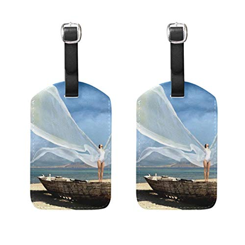 YCHY Premium Luggage Tags Angel Wings Womens Baggage Tag Holder Airplane Travel Accessories Set of 2