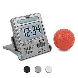 Marathon Basics CL030010TI Simple Travel Alarm Clock with Calendar & Temperature, Easy to use, Easy to Set. - Battery Included (Titanium)