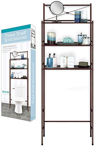 DINY Home Collections 3 Shelf Over The Toilet Spacesaver Easy to Assemble Bronze Metal by DINY Home Collections