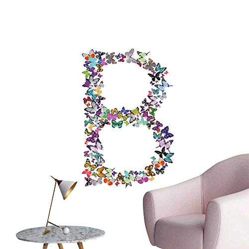 Alexandear Letter B Art Decor 3D Wall Mural Wallpaper Stickers Exoticism Beauty Fragility Theme Springtime Creatures Forming Letter B Feminine Landscape Scenery Painting Multicolor W16 x ()