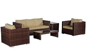 Baidani ratán Jardín Lounge Pride Select integrada Espacio–Marrón jaspeado, beige