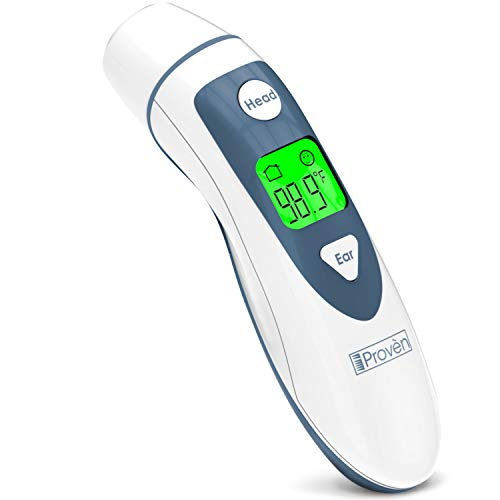 (Digital Ear Thermometer with Temporal Forehead Function for Baby, Infant and Kids - Upgraded Tympanic Fever Scan Lens Technology for Better Accuracy - New 2018 -)