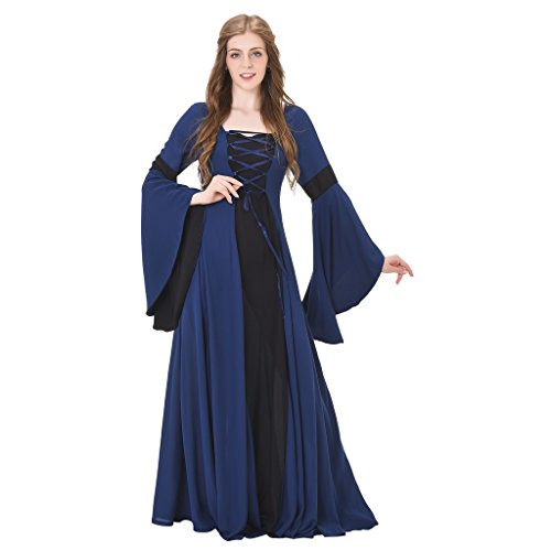 1791's lady Medieval Renaissance Princess Hooded Gown Dress (Halloween Costumes For Hot Weather)