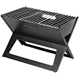 Foldable Barbeque Charcoal Grill Black/Silver 45x30 centimeter