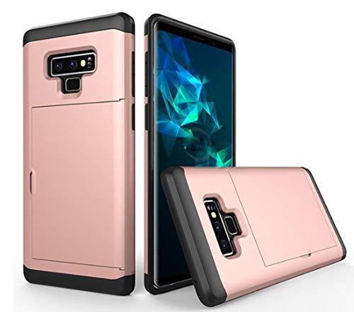 Galaxy Note 9 Case,Lozeguyc Dual-Layer Hybrid Armor Wallet Case for Samsung Galaxy Note 9-Rose (Note Rhinestone)