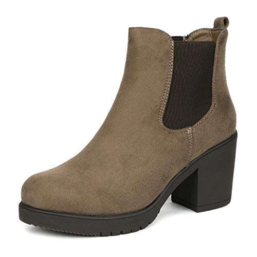 DREAM PAIRS Women's FRE Khaki High Heel Ankle Boots 6 B(M) US ()
