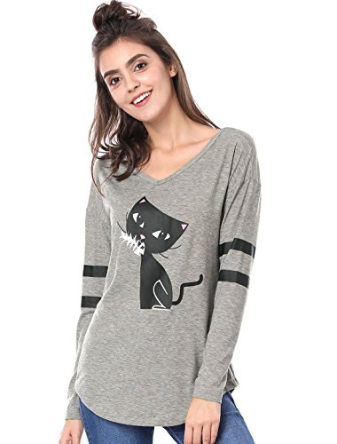Allegra K Women's V Neck Drop Shoulder Striped Cat Print Tunic Top M Grey