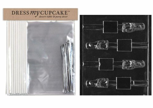 Dress My Cupcake DMCKITH112 Chocolate Candy Lollipop Packaging Kit with Mold, Halloween, Ghost Pretzel Lollipop]()