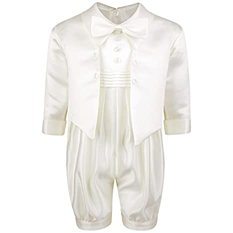 Traje para bebé, para bautismo, color blanco/crema, con moño ...