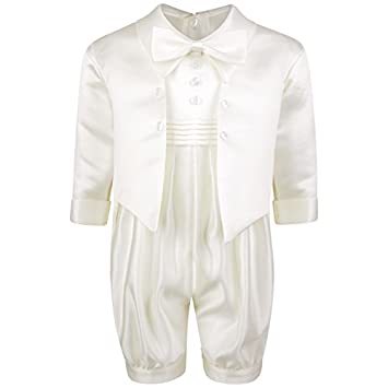 acd2bbf73316 Baby Boys White Cream Bow Tie Front Button Christening Romper Suit ...