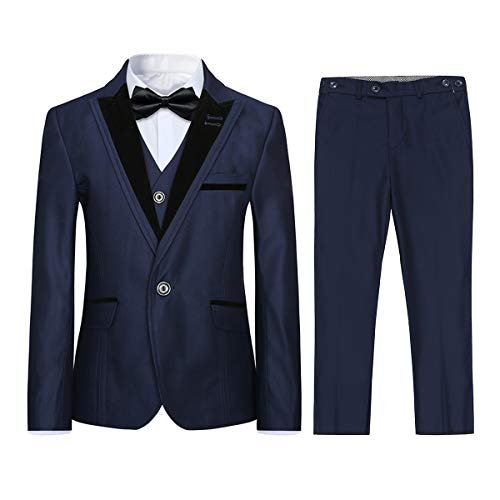 Boyland Boys 4 Pieces Formal Suits Classic Peak Lapel Slim Fit Tux Jacket Vest Pants Birthday Party Wedding Navy
