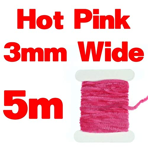 (Jammas 2mm 3mm Fly Tying Chenille for Woolly Bugger Worms Leech Streamer Fly Tying Body Material Color Red Black Olive Yellow - (Color: Hot pink 3mmX5m))