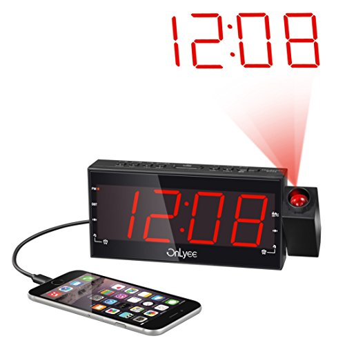 """OnLyee 7"""" Digital LED Projection Alarm Clock with AM/FM Radio,Dimmer,USB Charging Port,Battery Backup"""