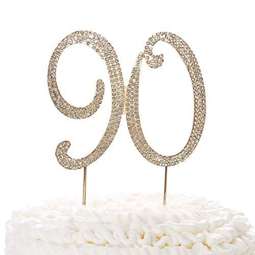 90 Gold Cake Topper | Premium Sparkly Crystal Rhinestones | 90th Birthday or Anniversary Party Decoration Ideas | Quality Metal Alloy | Perfect Keepsake ()