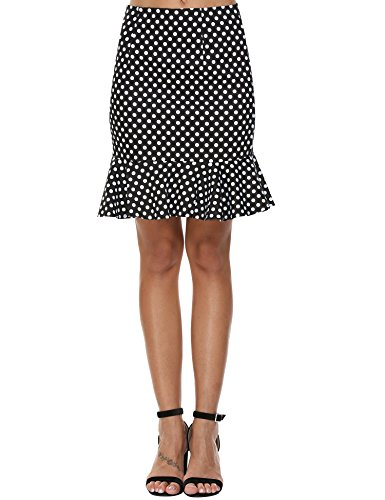 Women's Skirt Polka Dot Mermaid Party Work Bodycon Mini Skirt Black M