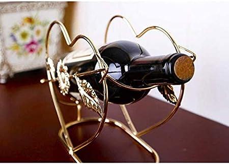 KUMOPYU 1 Pieza De Artesanía De Hierro Estante De Vino Creativo En Forma De Corazón Decoración De La Mesa De Comedor En Casa Estante De Vino Dorado Vinotecas Copas De Vino botellero Estante De Vino