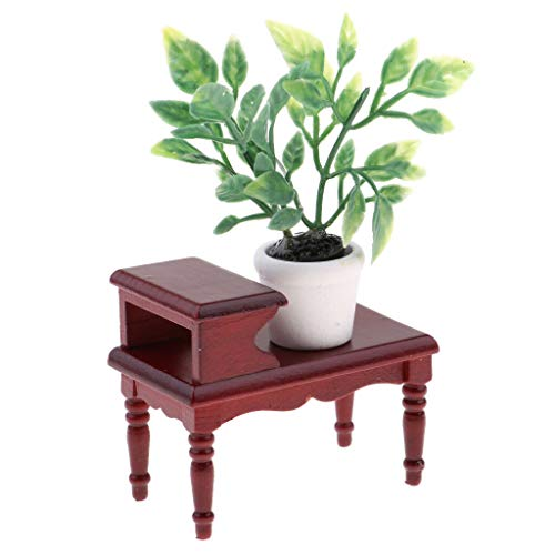 NATFUR Retro Style Miniature Wood End Table Plants Potted for 1/12 Dollhouse -