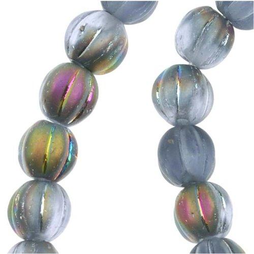 Czech Pressed Glass - Round Melon Beads 5mm 'Matte Alexandrite Vitrail' (50)