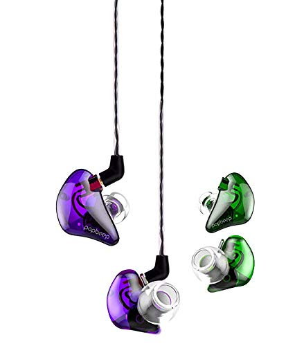 BASN in Ear Monitor Headphones, Dual Drivers Headphones for Singers, Noise-Isolating with Mmcx Connector, in Ear Earbuds for Running, Jogging, Walking.(Purle&Green)