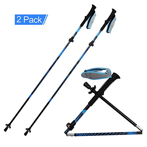 REDCAMP Aluminium Hiking Poles Foldable,2 Piece 1 Year Warranty,Ultralight Quick Flip Lock Walking Sticks for Backpacking (Sky Blue)