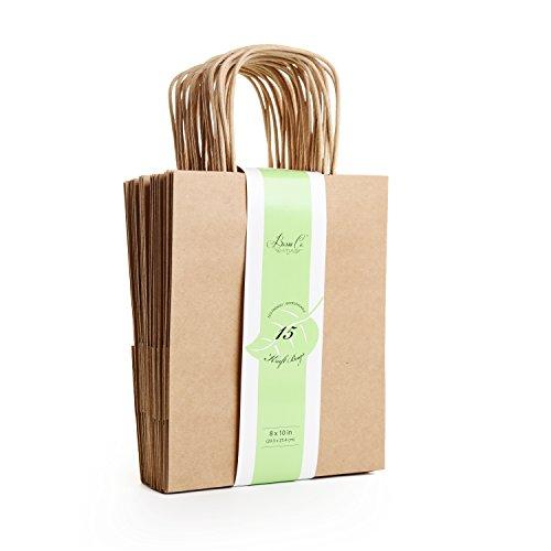 Brown Kraft Paper Bag Premium Set, 15 Count - Medium, 8
