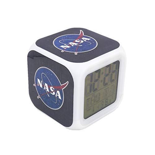 Boyan New NASA Space Aerospace Blue Led Alarm Clock Creative Desk Table Clock Multipurpose Calendar Snooze Glowing Led Digital Alarm Clock for Unisex Adults Kids Toy Gift (Alarm Clock Creative)