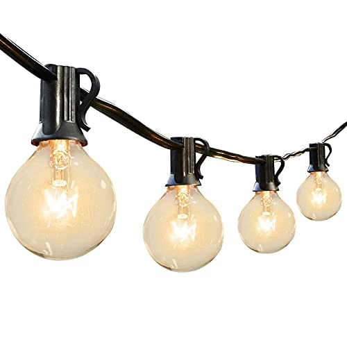 Outdoor Globe String Lights 25 Feet Patio Lights with 27 G40 Bulbs(2 Spare) Works for Indoor Outdoor Commercial Decoration Perfect for Party Wedding Garden Backyard Deck Yard Pergola Gazebo