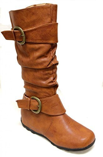 Top Moda Best-80 Women's non-slip sole round toe slouchy shaft with two wide buckled straps side zipper knee high boots Tan (Buckled Slouchy Boots)