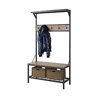 Liquid Pack Solutions Hall Tree in Antique Wood and Black Color Made of Manufactured Wood Storage Bench Included Hooks Included - Tackle your lack of seating and storage space at your front door with this Rustic hall tree that provides seating along with 5 hooks and 3 shelves you can fill with everyday things that are needed as your walking out the door. This hall tree has a beautiful metal frame and antique wood textured finish. Material: Wood. Storage Bench Included: Yes. Hooks Included: Yes. Product Care: Wipe clean with a dry cloth. Assembly Required: Yes. - hall-trees, entryway-furniture-decor, entryway-laundry-room - 41jdOzik6iL. SS400  -