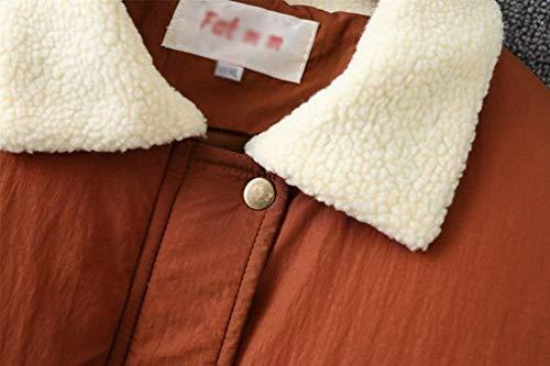 Autunno Cappotti Trapuntata Con Puro Donna Calda Termico Fashion Lunga Manica Cappotto Invernali Giacca Cerniera Elegante Giovane Arancia Piumino Casual Chiusura Colore Tasche A Giacche Y4q8C