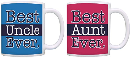 Uncle and Aunt Gifts Best Uncle Ever Best Aunt Bundle 2 Pack Gift Coffee Mugs Tea Cups Pink Blue