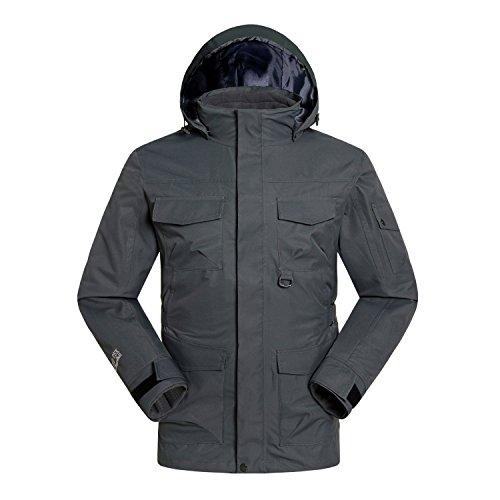 Sleeves Jacket Men S Long Waterproof FYM Coat Collar Zipper Grey DYF Outdoor Women JACKETS qxwXgwz