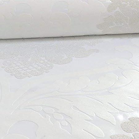 As Creation Patr/ón de Damasco Papel Pintado de Flores Hojas con Relieve Motivo Brillante Negro Plata 313959
