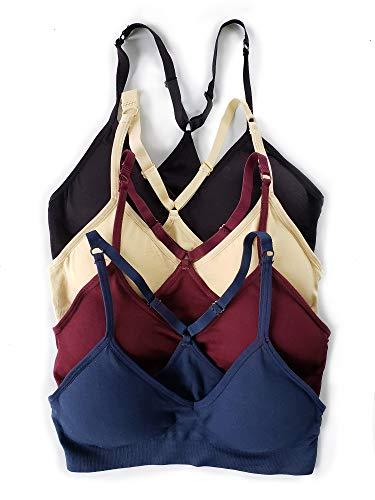 Kalon 4 Pack Racerback Sports Bra V Neck for Women (Small, Blk/Bg/Mar/NVY) ()