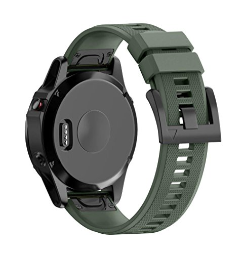 Alonea Replacement Silicagel Quick Install Band Strap For Garmin Fenix 5 GPS Watch (Army Green) Review