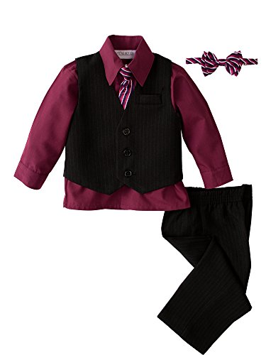 Spring Notion Baby Boys' 5 Piece Pinstriped Vest Set Burgundy Size 3T ()