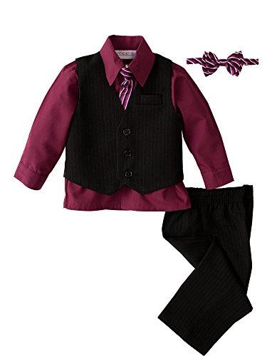 Spring Notion Baby Boys' 5 Piece Pinstriped Vest Set Burgundy Size 3T -