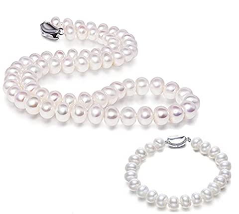 JYX 9-10mm White Freshwater Pearl Necklace and Bracelet Set - 9mm White Round Pearl Necklace