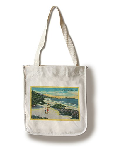 Lantern Press Carmel-by-The-Sea, California - View of The Beach - Vintage Halftone (100% Cotton Tote Bag - Reusable)