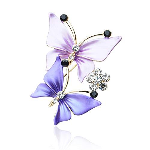 MYANAIL Double Butterfly Zircon Brooch Pin, Silk Scarf Buckle Brooch Dual-Use Jewelry for Woman (Purple)